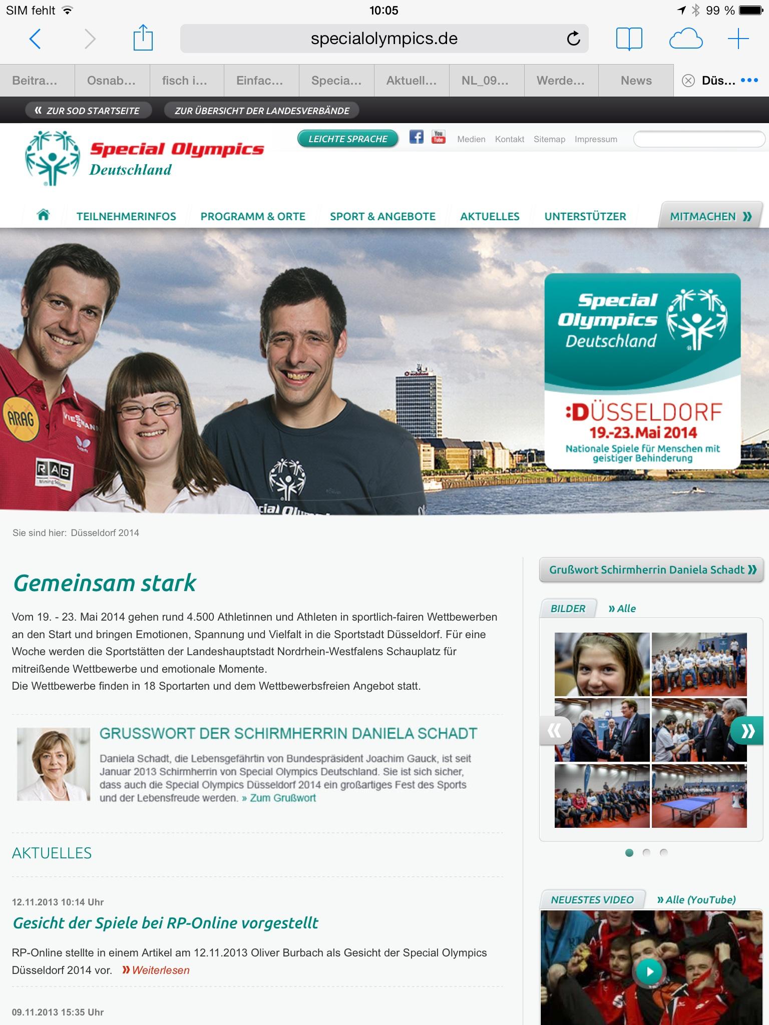 Im Internet gibt es viele Bilder und Filme von den Special Olympics